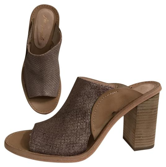 Free People Leather Open Toe Snakeskin Designer Sandal Gray Beige Mules Image 0