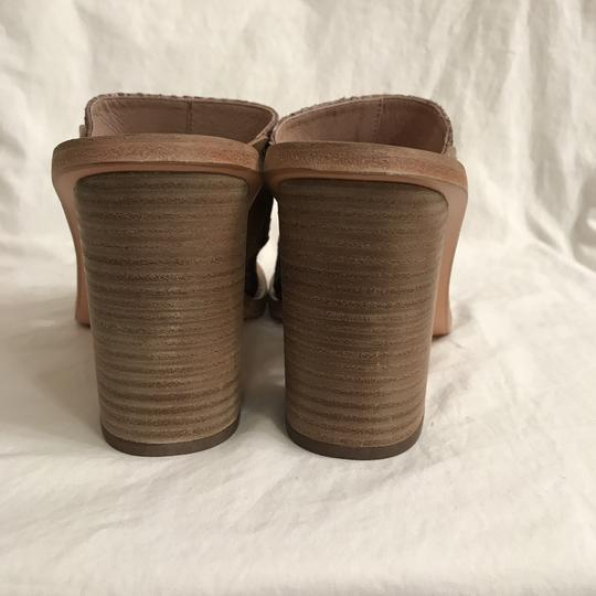 Free People Leather Open Toe Snakeskin Designer Sandal Gray Beige Mules Image 4