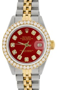 Rolex Rolex Datejust Ladies 2-Tone 26mm w/Red Diamond Dial & Bezel