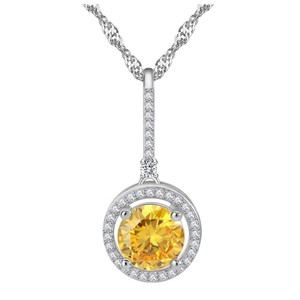 Other Yellow Swarovski Crystals Solitaire Pendant Necklace S14
