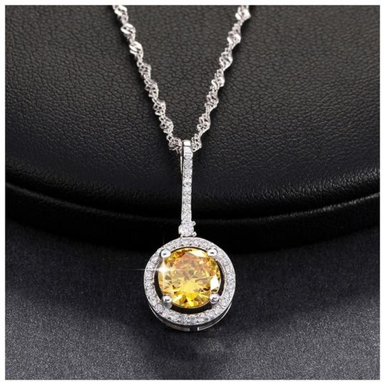 Other Yellow Swarovski Crystals Solitaire Pendant Necklace S14 Image 1