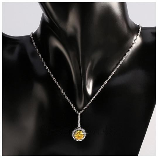 Other Yellow Swarovski Crystals Solitaire Pendant Necklace S14 Image 2