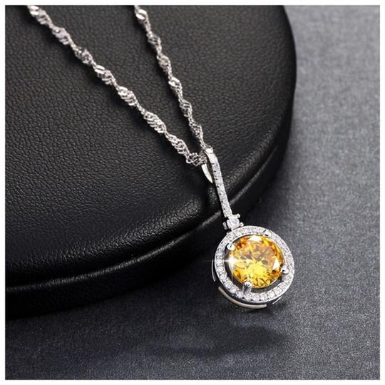 Other Yellow Swarovski Crystals Solitaire Pendant Necklace S14 Image 3