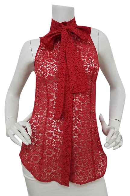 Item - Red Lace Button-down Top Size 8 (M)
