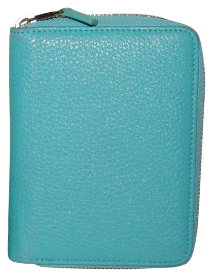 wholesale dealer 1b065 8f3a8 Tiffany & Co. Teal Blue Blue) Leather Zip Phone Case Wallet 59% off retail