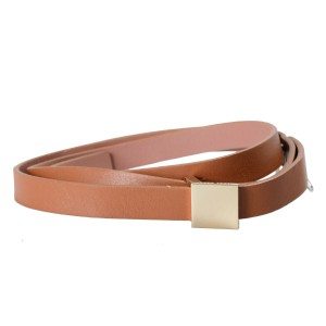Hugo Boss Hugo Boss Women's Leather Light Brown Skinny Belt