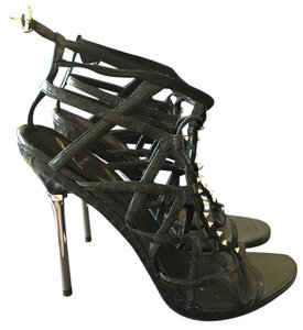 Brian Atwood Black water snake Sandals