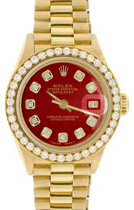 Rolex Rolex President Datejust Ladies Gold 26mm w/Red Dial & Diamond Bezel