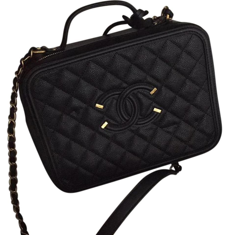 b118e7ab0bae Chanel Vanity Case Filigree Black Caviar Leather Shoulder Bag - Tradesy
