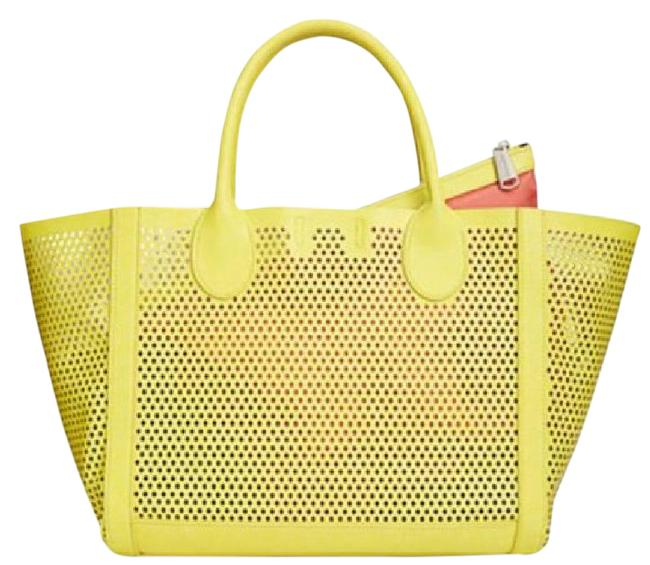 """Item - """"Bperfie"""" Citron Yellow Faux Leather Tote"""