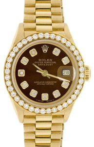 Rolex Rolex President Datejust Ladies Gold 26mm w/Chocolate Diamond Dial & Diamond Bezel