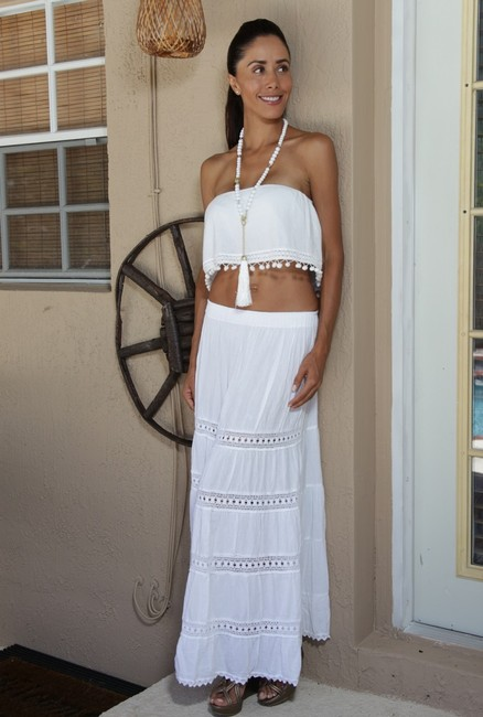 Lirome Embroidered Summer Tube Chic Strapless Top White Image 4