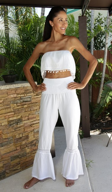Lirome Embroidered Summer Tube Chic Top White Image 3