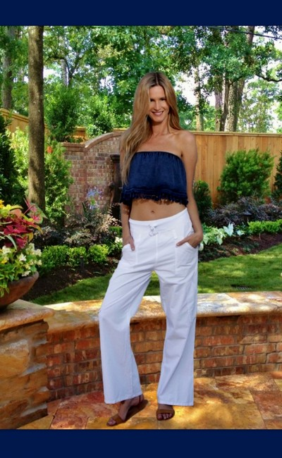Lirome Embroidered Summer Tube Chic Top White Image 5