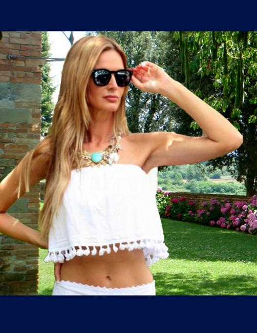 Lirome Embroidered Summer Tube Chic Top White Image 6