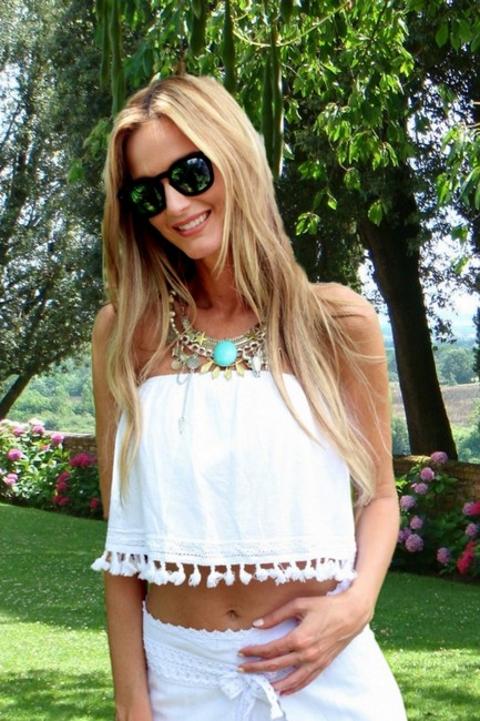 Lirome Embroidered Summer Tube Chic Top White Image 7