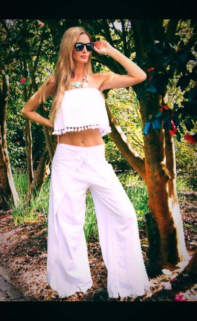 Lirome Embroidered Summer Tube Chic Top White Image 8