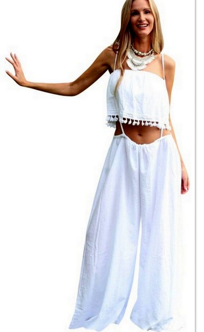 Lirome Embroidered Summer Tube Chic Top White Image 9