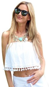 Lirome Embroidered Summer Tube Chic Strapless Top White