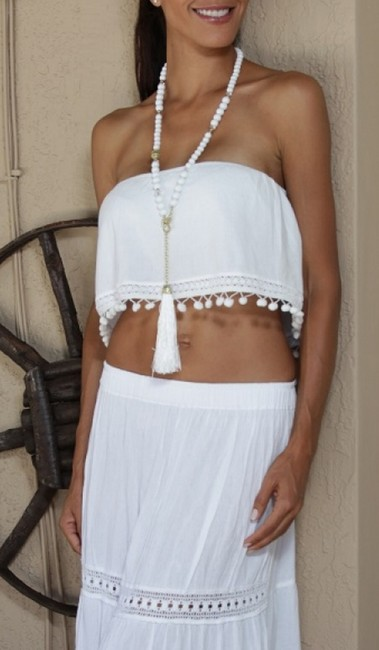 Lirome Embroidered Summer Tube Chic Strapless Top White Image 2