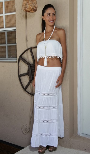 Lirome Embroidered Summer Tube Chic Strapless Top White Image 3