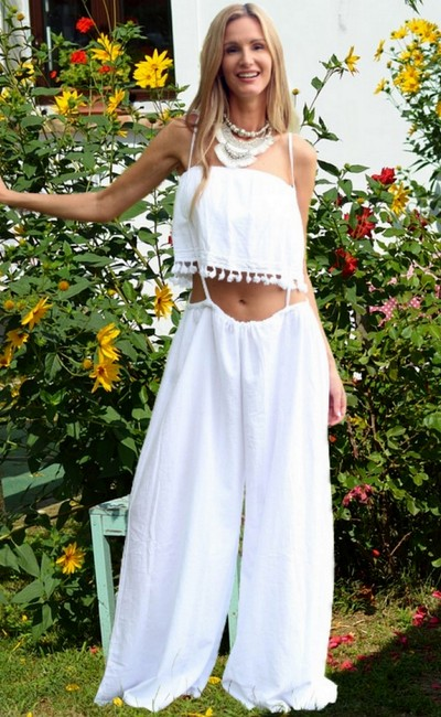 Lirome Embroidered Summer Tube Chic Strapless Top White Image 7