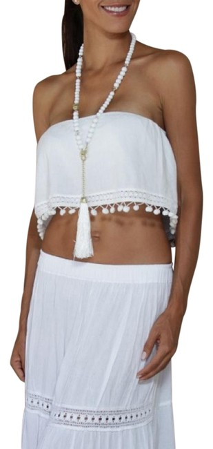 Lirome Embroidered Summer Tube Chic Strapless Top White Image 1