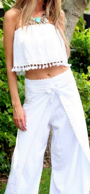 Lirome Embroidered Summer Tube Chic Strapless Top White Image 10