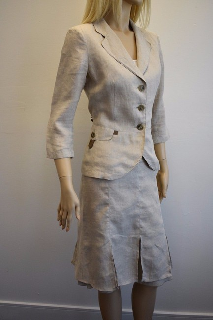 Max & Co. MAX & Co. BEIGE LINEN 2PC JACKET AND SKIRT SIZE 8 mk Image 2