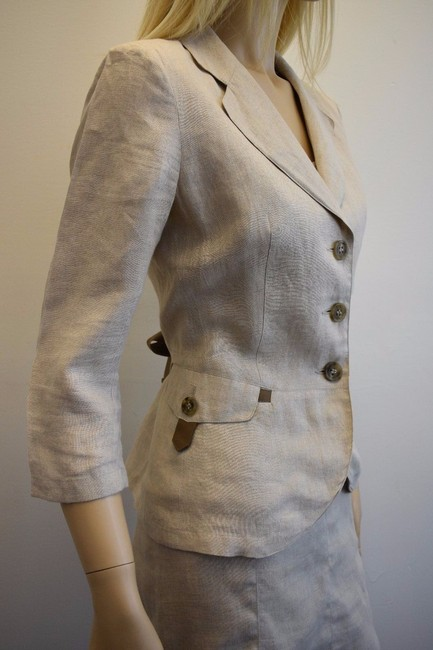 Max & Co. MAX & Co. BEIGE LINEN 2PC JACKET AND SKIRT SIZE 8 mk Image 3