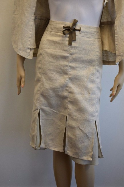 Max & Co. MAX & Co. BEIGE LINEN 2PC JACKET AND SKIRT SIZE 8 mk Image 5