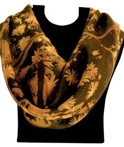 Brand New! Handkerchief Scarf, Gold Wildflowers 100% Silk Scarf