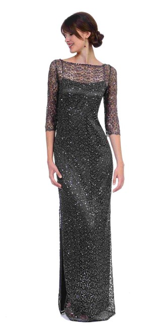 Item - Steel Grey Lace with Sequence Beaded Sheath Gown By Formal Bridesmaid/Mob Dress Size 4 (S)