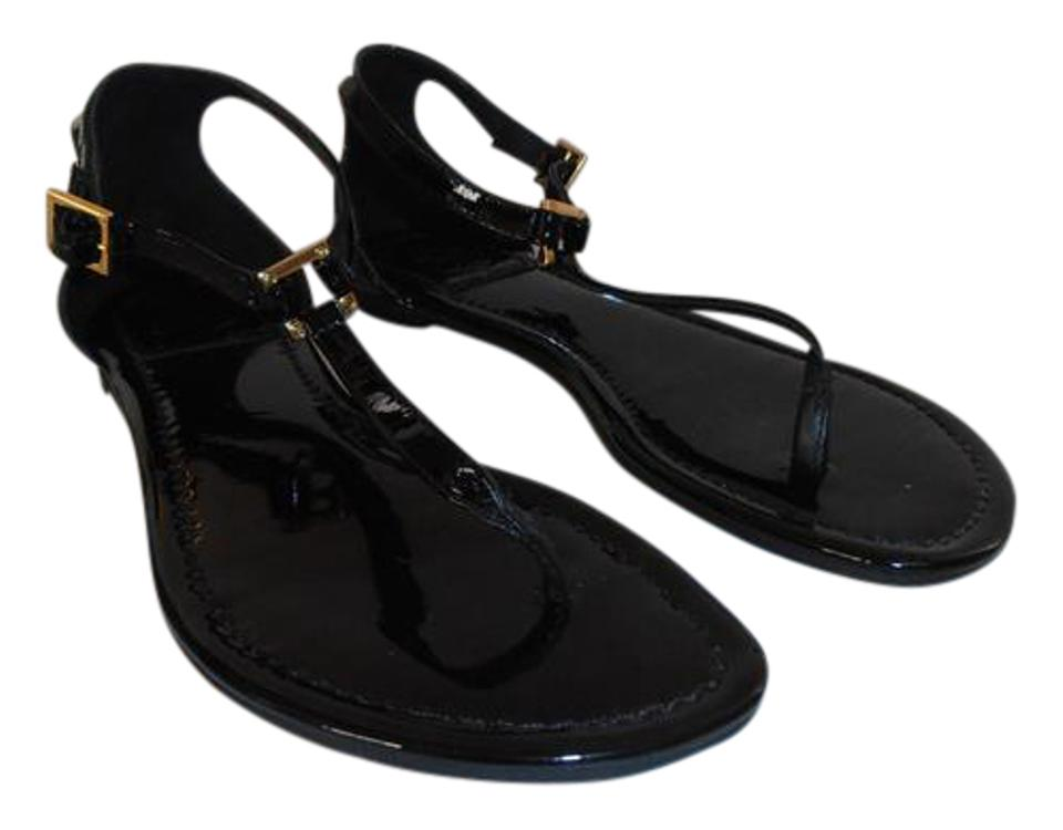 Tory Burch Black Ankle Patent Leather Thong Flat Ankle Black Sandals a74ef2