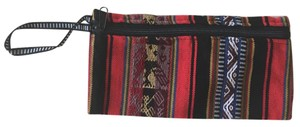 Urban Outfitters Woven Printed Striped Wristlet in Red, Black