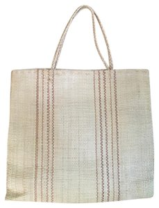 Anthropologie Woven Straw Striped Tote in Tan, Brown