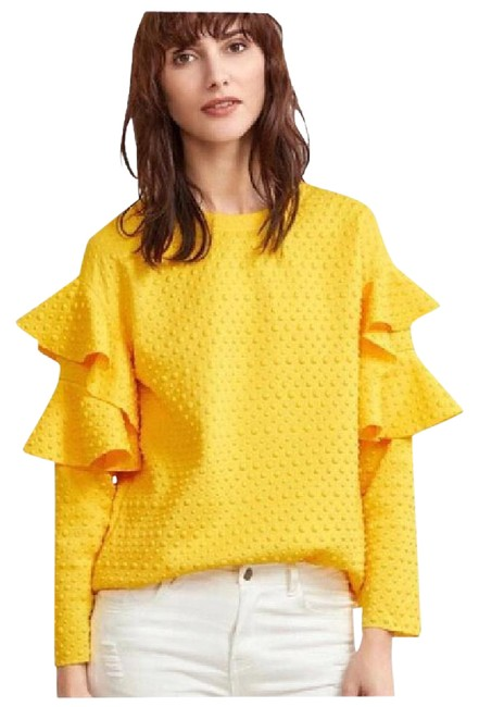 Preload https://img-static.tradesy.com/item/21748918/yellow-textured-dot-ruffle-sleeve-da25-blouse-size-8-m-0-1-650-650.jpg