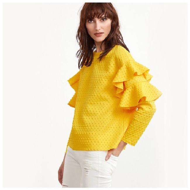 Other Textured Ruffle Longsleeve Top Yellow Image 1