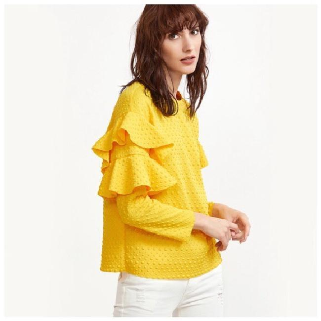 Other Textured Ruffle Longsleeve Top Yellow Image 2
