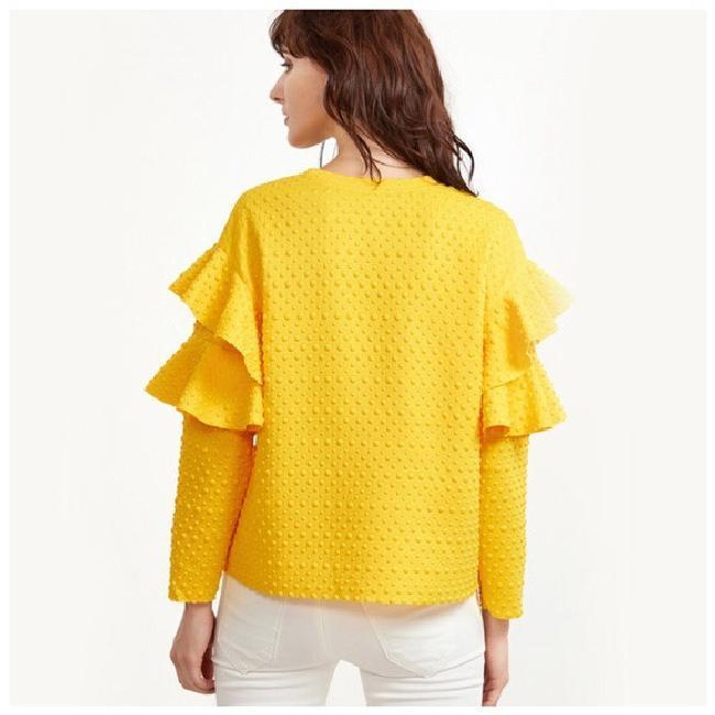 Other Textured Ruffle Longsleeve Top Yellow Image 3