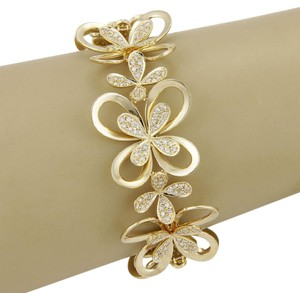 Other Estate 3.40ctw Diamond 18k Yellow Gold Flower Link Bracelet