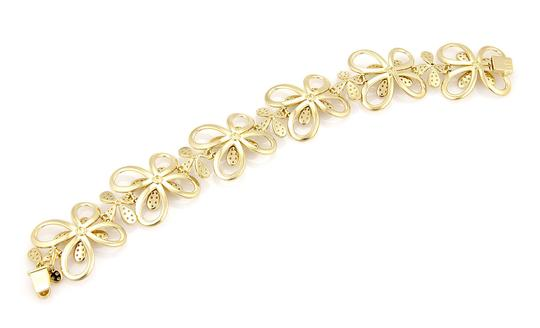 Other Estate 3.40ctw Diamond 18k Yellow Gold Flower Link Bracelet Image 1