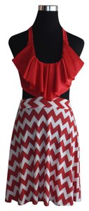 Lisa Nieves short dress red / white Chevron Formal Cocktail Halter Top Stretch on Tradesy