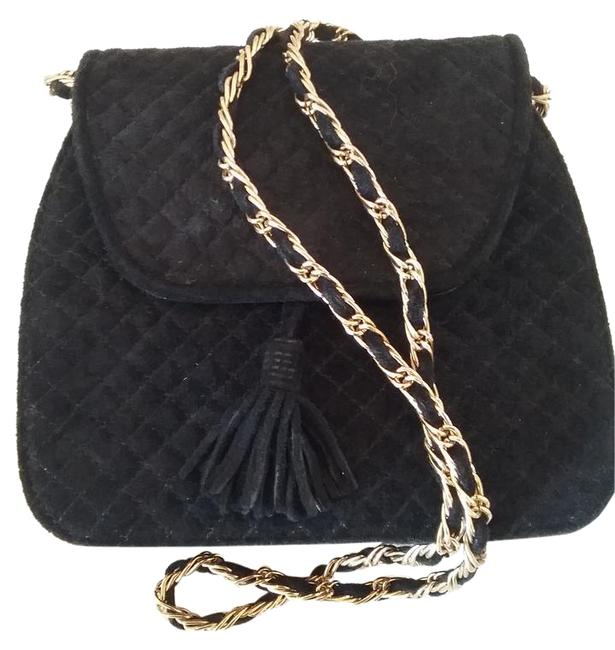 Item - Classic Evening Handbag Black with Black and Gold Strap Synthetic Cross Body Bag