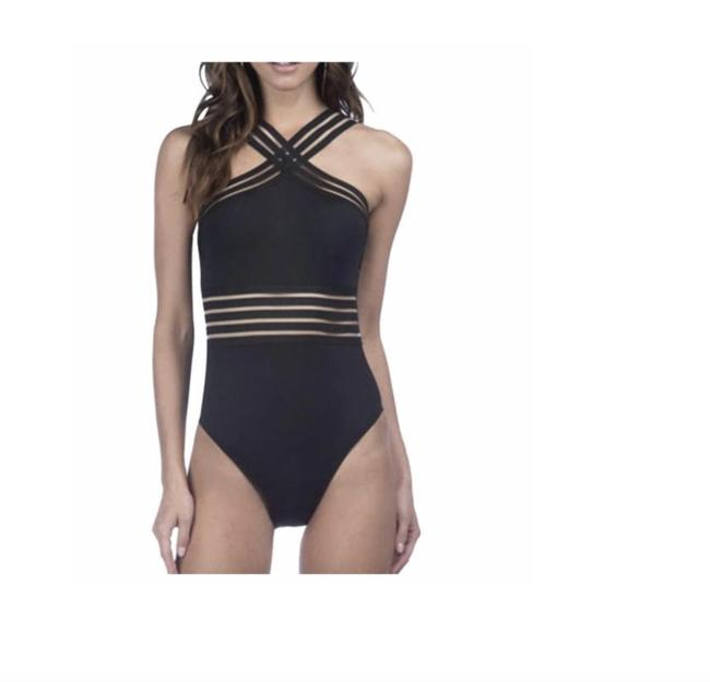 Kenneth Cole NWT KENNETH COLE Stompin' in Stilletos Illusion-striped Swimsuit M Image 1