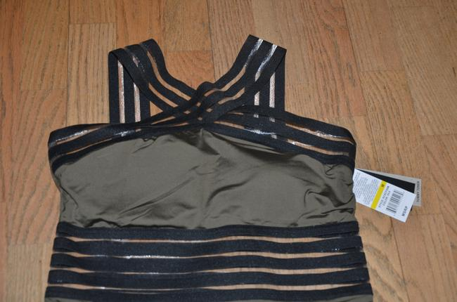 Kenneth Cole NWT KENNETH COLE Stompin' in Stilletos Illusion-striped Swimsuit M Image 2