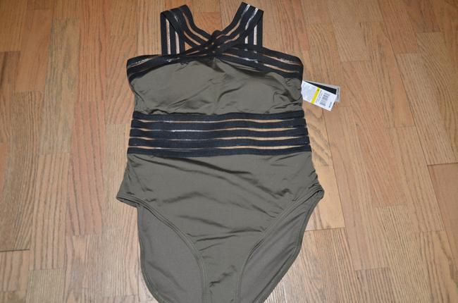 Kenneth Cole NWT KENNETH COLE Stompin' in Stilletos Illusion-striped Swimsuit M Image 3