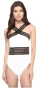 Kenneth Cole NWT KENNETH COLE Stompin' in Stilletos Illusion-striped Swimsuit M
