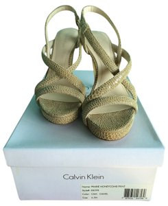 Calvin Klein Leather Honeycomb Camel Sandals