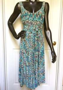 Nine West Sleeveless Turquoise Belted A-line Dress
